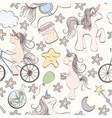 Seamless unicorn pattern vector image