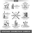 set of vintage cosmetics labels logos vector image vector image