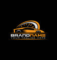 sport car with tachometer logo auto performance vector image