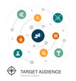 target audience colored circle concept with simple vector image vector image