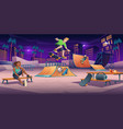 teenagers at night skate park teens on rollerdrome vector image vector image