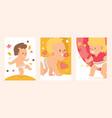 walking babies set girl and boy in clean diaper vector image