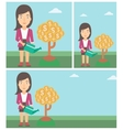 Woman watering money tree vector image vector image