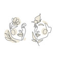 womens faces one line art with leaves vector image vector image