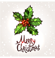 Christmas Card With Hand Drawn Holly vector image