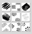 black ink brushes grunge square patterns hand vector image vector image