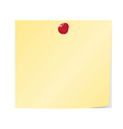 Blank yellow sticky note pinned vector image