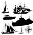 Boat Silhouette Set vector image vector image