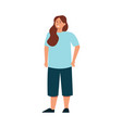 body positive plus size woman flat icon vector image