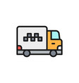 cargo taxi truck delivery flat color line vector image