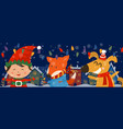 cartoon banner for holiday theme with elffox and vector image
