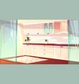 cartoon empty kitchen in pink colors vector image