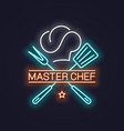 chef master neon with chef hat neon banner vector image vector image