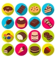 Chocolate desserts set icons in flat style Big vector image