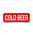 cold beer red three-dimensional square button vector image