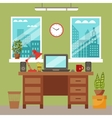 colorful office desk with indoor plants vector image vector image