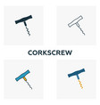 corkscrew icon set four elements in diferent vector image