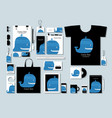 corporate flat mock-up template blue whale vector image vector image