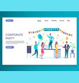 corporate party website landing page design vector image vector image