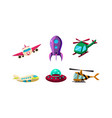cute cartoon aircrafts bright colors set airplane vector image vector image