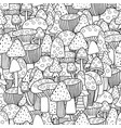 doodle mushrooms seamless pattern fantasy forest vector image vector image