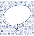 Doodle speech bubble with objects on notebook vector image vector image