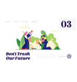 ecology protection volunteer people garbage vector image vector image