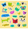 Fashion patch badges Pop art Cat and dog set vector image vector image