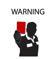 Football referee holding red card silhouette vector image