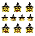 Funny cartoon pumpkins set with witch hat vector image vector image