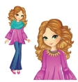 Girl In Purple Tunic And Jeens vector image vector image