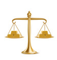 golden bars on gold weight scales vector image