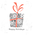 greeting card with ornamental gift vector image vector image