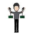 hacker character cyber money thief image vector image