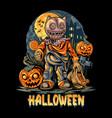 halloween night and pumpkins artwork vector image vector image