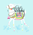 happy birthday greeting card white llama on blue vector image