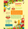 happy easter poster template with egg and flowers vector image vector image