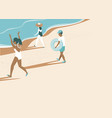happy summer people running to sea vector image