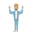 hindu businessman standing with raised arms up vector image vector image