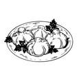 khinkali food engraving vector image vector image