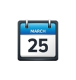 March 25 Calendar icon flat vector image vector image