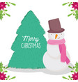 merry christmas celebration snowman tree flowers vector image