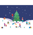 merry christmas winter scene with a big xmas tree vector image vector image