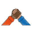 multiracial hands holding symbol vector image