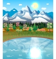 nature landscape forest mountains lake sun vector image