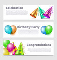 party banners template realistic party hats vector image vector image
