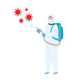 person with biohazard suit protection vector image vector image
