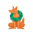 portrait of brown dog wearing green christmas vector image