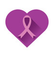 purple heart ribbon shade vector image
