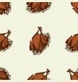 seamless pattern with hand drawn colored turkey vector image vector image